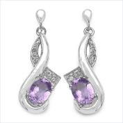 Jewellery-Schmidt-Precious Amethyst / White Topaz Earrings / plug-Silver-Rhodium 2, 45 carat