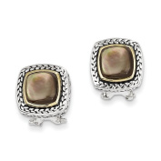 Sterling Silver With 14ct Black Mother Of Pearl Earrings - JewelryWeb