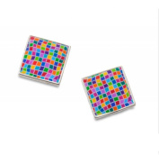 Earrings Stud - Sterling Silver Square - Handmade Mosaic - Gift for Women