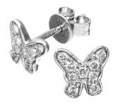 9ct White Gold 0.20ct Diamond Butterfly Stud Earrings