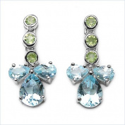 Jewellery-Schmidt-Earrings Peridot / Blue Topaz Silver Rhodium-925-5, 51 carats