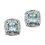 9ct White Gold Stud Earrings Set With Aquamarine And Diamond (0.016ct).
