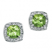 9ct White Gold Stud Earrings Set With Peridot And Diamond (0.064ct).