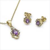 Jewellery-Schmidt-Diamond / amethyst-SET-4-telig pendants, chain, earrings 1.12 carats