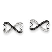14ct White Gold With Black and White Diamond Infinity Heart Post Earrings - JewelryWeb