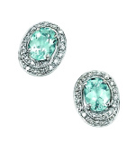 Elements Gold Ladies GE658T 9ct White Gold Aquamarine and Diamond Earrings