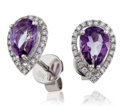1.50CT Certified G/VS2 Amethyst Pear Shape Centre with Round Brilliant Cut Pear Shape Halo Diamond Stud Earrings in 18K White Gold