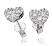 0.70CT Certified G/VS2 Round Brilliant Cut Cluster Heart Shape Diamond Stud Earrings in 18K White Gold