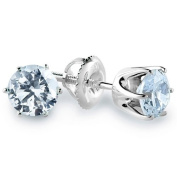1 CTW 6-Prong Solitaire Diamond Stud Earrings in 14K White Gold with Screw Backs