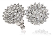 2.55CT Certified G/VS2 Round Brilliant Cut Daisy Cluster Diamond Stud Earrings in 18K White Gold