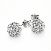JMT Jewellery Sterling Silver Small Ball Diamond Crystal Earring Earrings