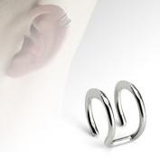 Clip On Ear Cuff - Pierced & Modified - Body Jewellery - Fake Helix Piercing - Double Plain Ring Look