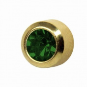 Studex Ear Piercing Mini Gold Plated Birthstone Stud Earrings 2mm Bezel Setting - May / Emerald