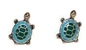Vintage Style Antique Bronze Enamel Turtle Stud Earrings (In Gift Pouch) Quirky Unique Fashion Jewellery