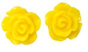 12mm Rose Fashion Earrings Yellow Stud Kids Childrens Girls