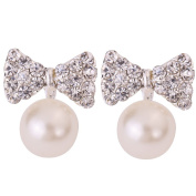 Yazilind Jewellery Pretty Bowknot Carve Full Sparkling Crystal Alloy Silver Plated Faux Pearl Mini Stud Earrings