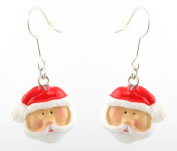 Zest Traditional Santa Claus Father Christmas Drop Earrings for Pierced Ears