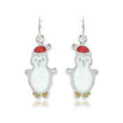 Funky Christmas earrings - fun Christmas hat wearing penguin, perfect xmas jewellery for women and children includes a gift bag