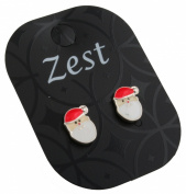 Zest Santa Father Christmas Big White Beard Face Stud Earrings for Pierced Ears