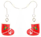 Zest Christmas Cute Patterned Red Stockings Drop Earrings for Pierced Ears