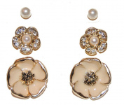 Gold Tone Set of 3 Pairs Stud Earrings with Enamel Floral Design, Faux Pearls and Sparkly Crystals Sweet . Fashion Jewellery