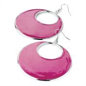 ER24501 Silver Colour Fuchsia Pink Enamel Earrings Wedding Party Prom