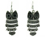 Black on Antique Silver Vintage Style Owl Drop Earrings