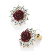 Bling Online Gold Tone Stud Earrings with Rose Centre and Crystal Outer Detail.