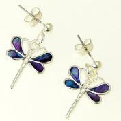 Beautiful Natural Purple Abalone Paua Shell Dragonfly Earrings In Gift Box - D