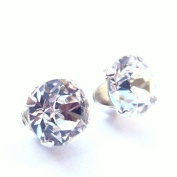 925 Sterling Silver Stud Earrings set with. Crystal Stones. Gift Box. Beautiful jewellery for all ladies