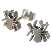 Jewellery of Lords Pair of Silver Spider Arachnid Spiderman Tarantula Insect Bug Stud Earrings Stainless Steel