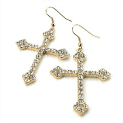 Bling Online Gold Tone Cross Crucifix Earrings with Crystal Detail.