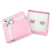 Boxed beautiful baby pink butterfly earrings, stud earrings for pierced ears includes pink gift box with silver bow-perfect stocking filler for girls