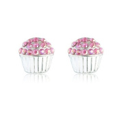 Cute Pink Cup Cake Earrings - women's costume jewellery earrings - Also available in Gold and Silver cupcakes - Arrives in a Gift Box making this the Ideal jewellery present.