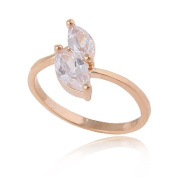 Elegant 18 k Gold Plated with White Cubic Zircon Stones Engagement medium size O diameter=17 mm Ring FR95