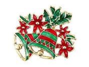 Gift for Xmas Red & Green Bells Christmas Winter New Year Brooch Pin Gift BR155