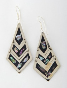 Tumi Mexican drop earrings with inlaid abalone shell 52mm Latin American jewellery