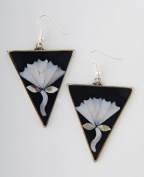 Tumi art deco style earrings flower fair trade hand made in Mexico 48mm