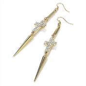 Bling Online Gold Tone Dangle Cross & Spike Earrings with Crystal Detail.