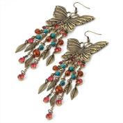 Butterfly Drop Pierced Fashion Earrings Burnt Gold