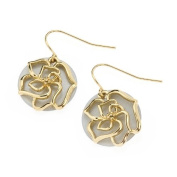 Ladies Earrings, White Shell with Gold English Rose design includes lovely present bag.