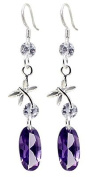 Lovely fashion silver Dangle Earring by BodyTrend © - embellished with Clear and Amethyst. crystals - Perfect for any dress - packed in a cute velvet pouchette
