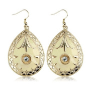 Teardrop Gold and Yellow Vintage Earrings - Women's Fashion Earrings - Includes beautiful gift bag - Ideal jewellery present.
