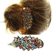 Vintage Style Amazing Bronze & Colourful Peacock Hair Clip Accessories HA14