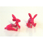 The Olivia Collection Funky Rabbit Flourescent Hot Pink Stud Earrings