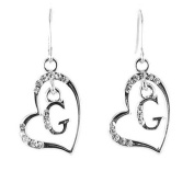 Clear Crystal on Silver Plated Initial Earrings - G