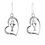 Clear Crystal on Silver Plated Initial Earrings - Y