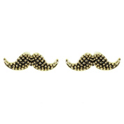 Black on Gold Plated Small Moustache Earrings
