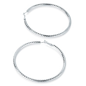 Silver Diamond Cut Large Hoop Earrings AJ27819