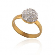Elegant Stainless Steel Gold with White CZ Crystal Ball Engagement small size M diameter=16.5 mm Ring FR96